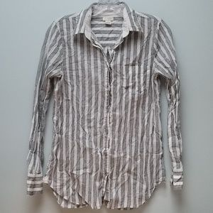 J  CREW |  WHITE & BLACK  COTTON BUTTONDOWN, XS